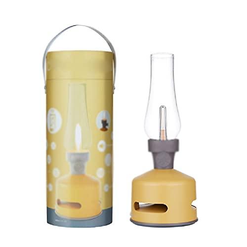 Linterna de aceite de queroseno Lámpara de keroseno recargable clásica, lámpara de aceite de keroseno recargable USB de audio USB de Bluetooth, luz de mesa portátil inalámbrica Linterna de huracán vin