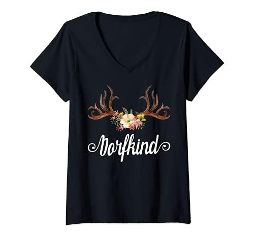 Mujer Dorfkind Mujeres Niñas del país pueblo divertido frases mujer Camiseta Cuello V