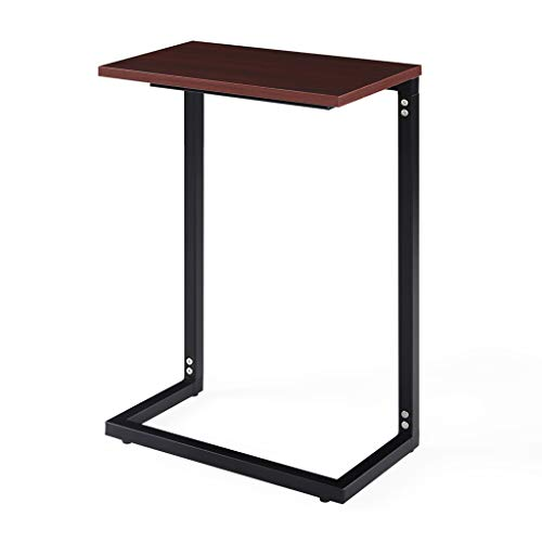 Sunon End Table Sofa Side Coffee Table C Shaped Snack Table Laptop Table for Living Room, Bedroom 44x25x67.5cm (Mahogany)
