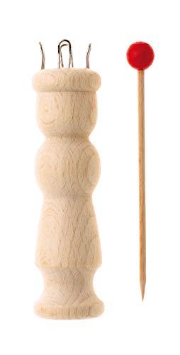 Glorex 5 2001 49 - Strickliesel aus Holz, mit 4 Metallschlaufen, inklusive Nadel, ca. 11,5 cm groß, beliebt bei Kindern