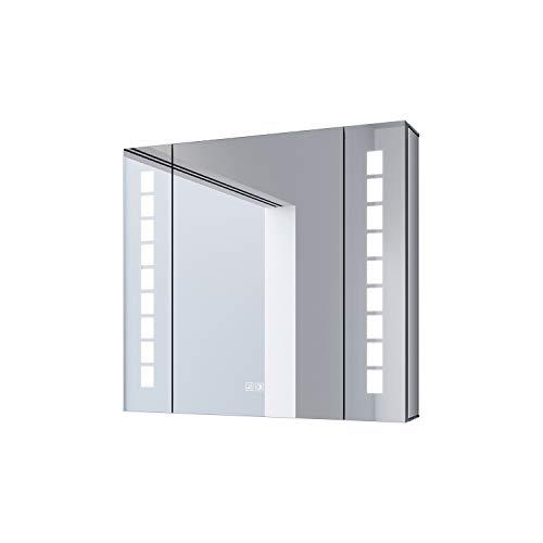 SONNI Spiegelschrank mit Beleuchtung 60 × 65cm beschlagfrei Spiegelschrank Bad mit Beleuchtung LED Spiegelschrank mit Touch und Steckdose Kabelloses Scharnier Design Badezimmer Spiegelschrank