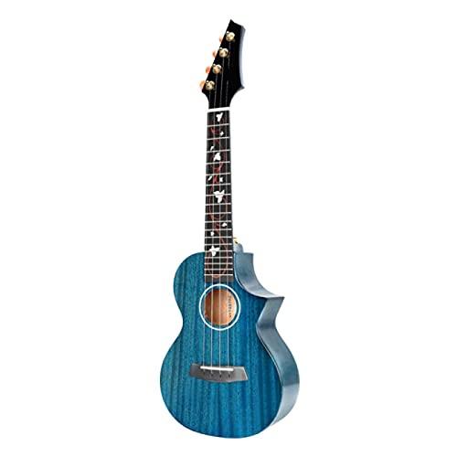 KEPOHK Concierto Tenor M6 Ukelele Instrumentos de cuerda acústicos de caoba maciza de alto brillo Hawaii Mini guitarra con pastilla 23 pulgadas Azul con pastilla