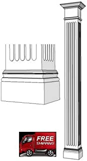 Elite Trimworks Corp Traditional, Square, Wood Column - 8 ft Fluted