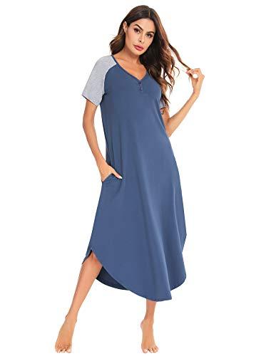 Aibrou Robe Pyjama Femme, Chemise De Nuit Longue à Manches Courtes Été Casual Col V