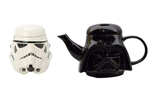 YLJYJ 2pcs / Set Star Wars Awesome 3D Ceramic Black Darth Vader Stormtrooper Casco Taza Tazas Creativas y Juegos de Tetera (1 Tetera Negra + 1 Taza Blanca)