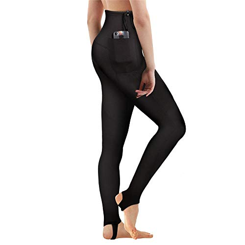 CtriLady Women's Wetsuit Pants Premium 2mm Neoprene Sauna Leggings for Workout Swimming Surfing and Snorking (Black, 2XL)