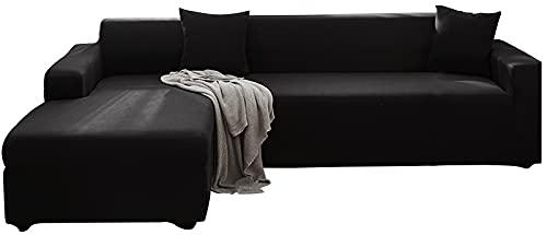 KIKIGO Sofa üBerwüRfe 2 StüCk Elastische Stretch,Stretch FüR L-Form Sofa Abdeckung 2er Set,Black_l_Style-3+4_Seater