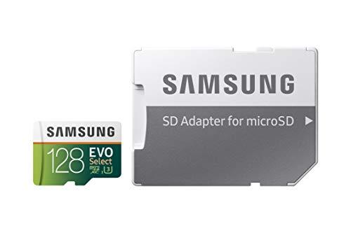 Samsung EVO Select 128 GB microSD 100MB/s, Geschwindigkeit, Full HD & 4K UHD Speicherkarte inkl. SD-Adapter für Smartphone, Tablet, Action-Kamera, Drohne und Notebook