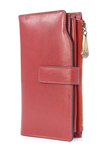 CATWALK COLLECTION - Billetera/Cartera - Compartimentos para teléfono y 20 tarjetas de crédito - Caja de regalo - Cuero - RFID - STELLA - Rojo
