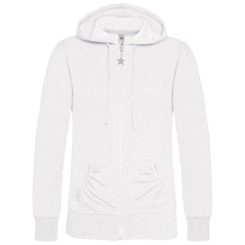 B&C - Sweatshirt à capuche et fermeture zippée - Femme (2XL) (Blanc)