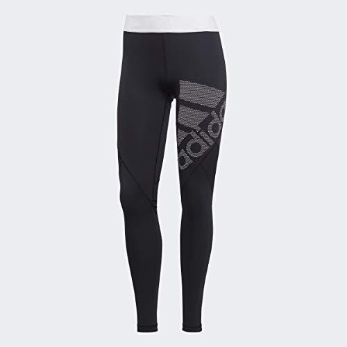 adidas Women's Alphaskin Sport Long Logo Tights, Black/White, Small
