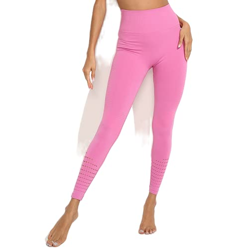 QTJY Señoras Deportes Fitness Pantalones de Yoga Leggings de compresión gradiente Pantalones sin Costuras Estiramiento de Cintura Alta Pantalones de Fitness para Correr FS