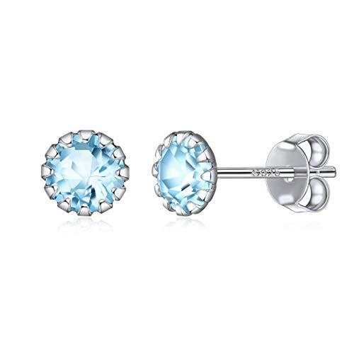 Cristal Diamantes de 12 Meses Marzo Plata 925 Joyería de Femenina Regalo Romántico para Madre Aguamarina Azul Claro Aros Clavos