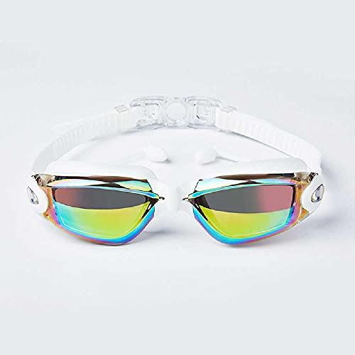 N\C Tapones para los oídos de una sola pieza, galvanoplastia, impermeable, antivaho, gafas de natación planas galvanoplastia luz plana blanca