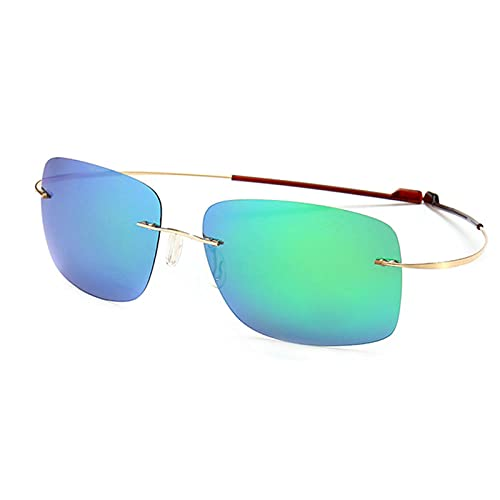 Gafas de sol polarizadas para conducción, para hombre, gafas de sol, lentes de espejo, elásticas, ligeras, montura dorada, azul y verde