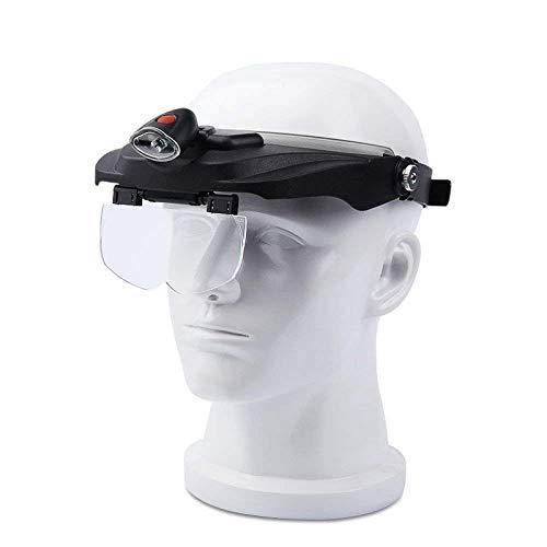 LKK-KK 1,2x 1,8x 2,5x 3,5x coloca en la cabeza de cristal con LED se enciende Compatible with la lectura del hombre viejo Alta Definición Reparación de grabado del reloj del teléfono móvil de la lente
