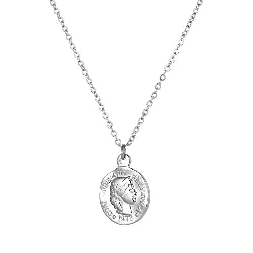 Tribal Spirit Kette Anhänger römische Münze Münzanhänger in Gold oder Silber aus Edelstahl Farbe Silber