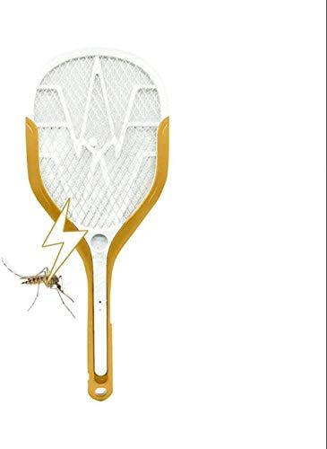 A-Generic OOLSM & X Bug Zapper E-Racket Fly Fly Swatter Fly y Moskito Racket Fly Killer Carga USB 3000 V Luz LED Brillante Luz de Seguridad de 3 Capas Individual Malla Segura