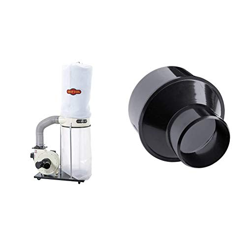 SHOP FOX W1685 1.5-Horsepower 1,280 CFM Dust Collector & POWERTEC 70136 4-Inch to 2-1/2 Inch Cone Reducer
