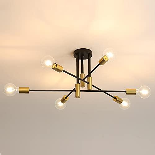 DAXGD Lampade da soffitto industriali, lampadari a soffitto retrò neri E27, plafoniere ad angolo regolabile di 180° per lampada da soggiorno camera da letto (Diametro 72cm)
