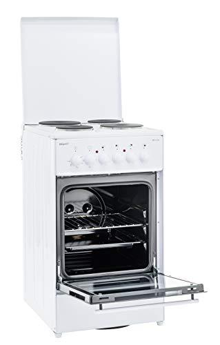 Exquisit Standherd EH 11.3-4 | Elektro-Standherd | 50 cm | Masse-Kochfeld | 50 L Garraum | Weiß