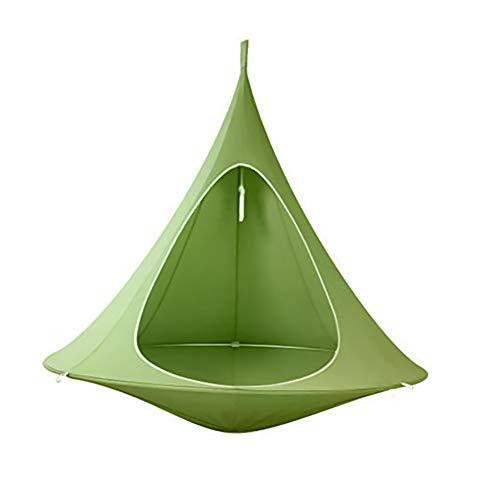 Hamaca colgante para tienda de campaña, hamaca columpio, forma cónica, para colgar en el árbol de la tienda de campaña para niños y adultos interiores al aire libre jardín (200 kg), verde