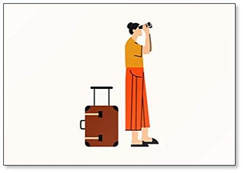 Vrouw op Trip. Vrouw kijken door verrekijker Koelkast magneet