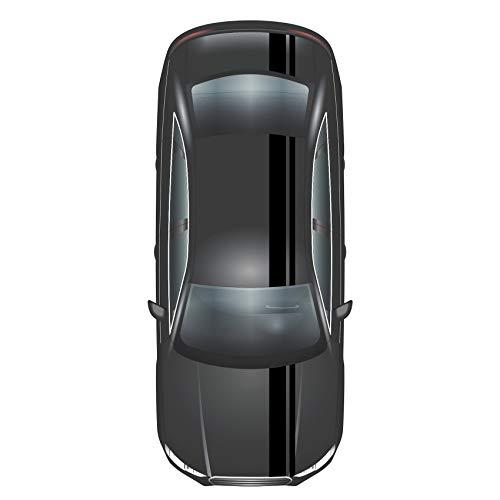 Finest Folia Rennstreifen Racing Stripes 5mx15cm und 10mx5cm Rallystreifen Viperstreifen für Fahrzeuge Auto Kfz Zubehör Tuning Streifen für Motorhaube Dach Heck (Matt Schwarz)