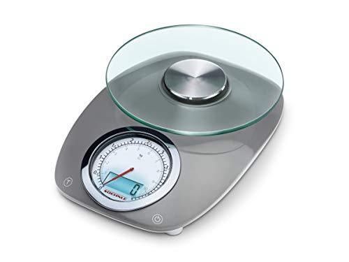 Soehnle Vintage Style Grey Digitalwaage im Retro-Look, Küchenwaage mit Kombi-Display, analoge und digitale Haushaltswaage mit 5 kg Tragkraft