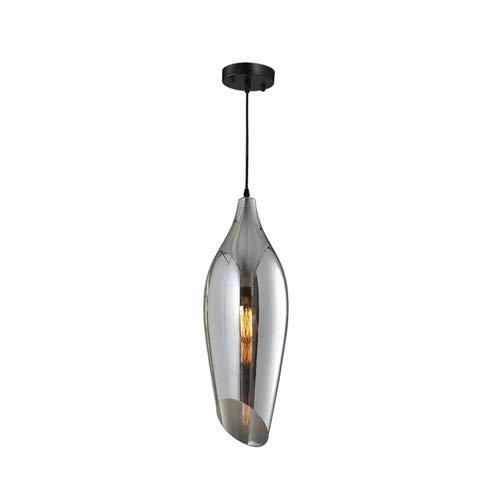 lampada a sospensione di vetro Fumé con base nera ROTONDA, Ø 145x 400mm, E27/220–240V, (max. 60W)