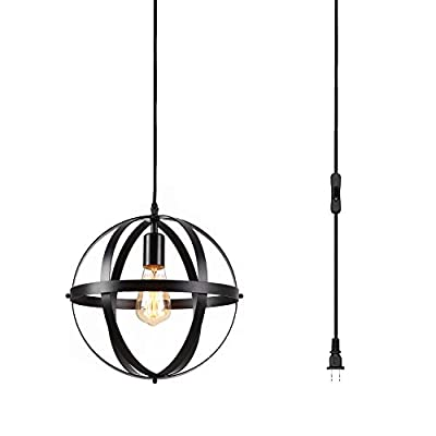 Industrial Farmhouse Plug in Pendant Light Vintage Metal Globe Hanging Light Fixture with 14.5 ft Hanging Cord On/Off Switch,Plug in Chandelier for Kitchen Island,Dining Room,Barn