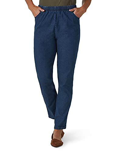 Chic Classic Collection Women's Stretch Elastic Waist Pull-On Pant, Mid Shade Denim, 14P