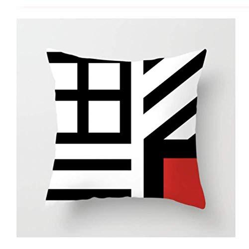 SHEZHP Moderna, Creativa, Roja, Negra, Geométrica, Impresa, Funda De Almohada, Oficina En Casa, Fundas De Almohada Decorativas, 45x45cm, Sofá, Coche, Cintura, Almohada.