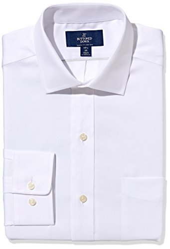 Amazon Brand - BUTTONED DOWN Men's Classic Fit Spread Collar Solid Non-Iron Dress Shirt , cuello de 38 cm, Blanco