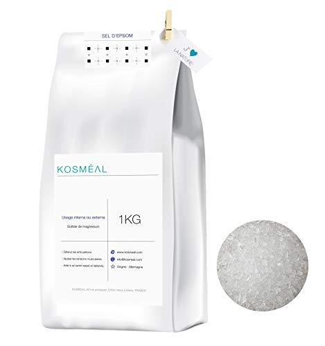 Sel d'Epsom Sulfate De Magnésium - Usage Interne ou Externe - 1KG - Emballage Écologique Papier Kraft Blanc