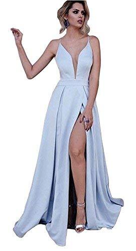 YuNuo Women's A-Line Spaghetti Straps Deep V-Neck Side Slit Long Prom Dress Light Blue 14 (Apparel)