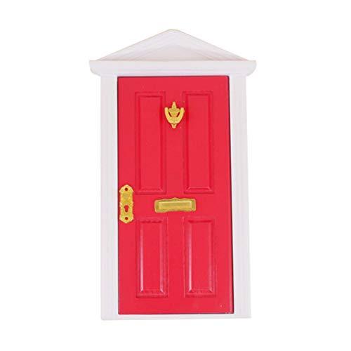 Yardwe 1 Pz Porta Fatina dei Denti Porta Mini Elfo in Legno Fata Giardino Porta in Miniatura Gnomo per Giardino delle Fate Porta Decorazioni per La Casa (Rosso)