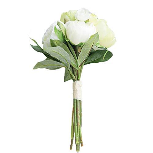 Sarazong Fleur Artificielle Simulation Pivoine Camélia Combinaison Bouquet De Fleurs Mariée Tenant des Fleurs Bouquet Maison Décorative Fleur Faux Fleur Fleur Haute Qualité,B