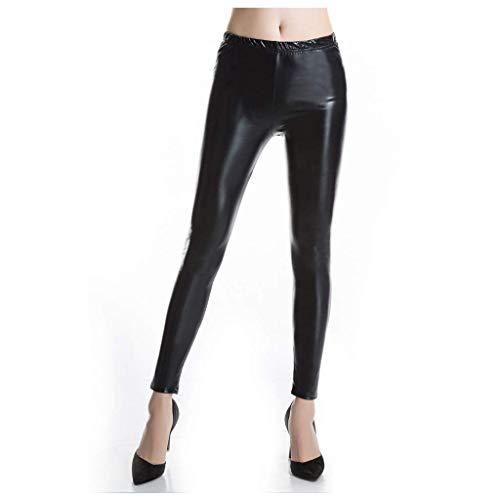 Alessioy Pantalones De Mujer Pantalones De Cuero Imitación Metálicos Pintan De Polainas Vida de la Moda Efecto Cuero Con Altas Polainas De Cintura Elástica Pantalones Elásticos De Látex Líquido Metáli