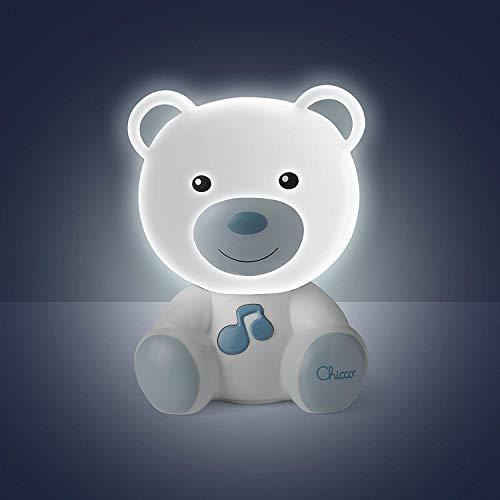 Chicco Lamparita Dulces Sueños - Lámpara quita miedos anti oscuridad, con luces y sonidos, diseño oso azul