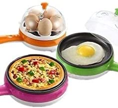 Figment Multifunctional 2 in 1 Electric Egg Boiling Steamer Egg Frying Pan Egg Boiler Electric Automatic Off with Egg Boiler Machine Non-Stick Electric Egg Frying Pan (Egg Frying Pan)