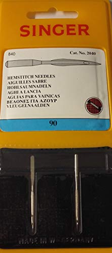 Singer Hemstitch - Agujas para máquina de coser, paquete de dos, tamaño: 90/14, compra 2, obtén el 3er paquete gratis (1 paquete individual de dos)