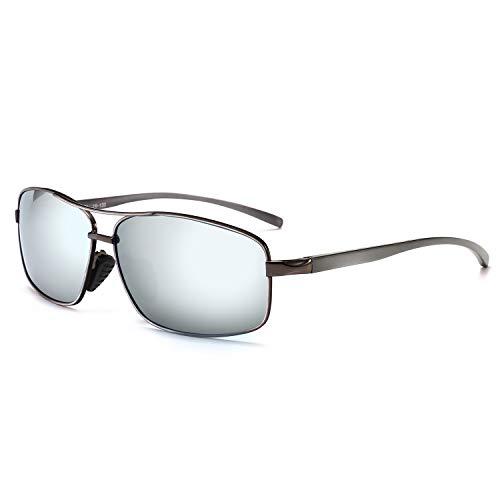 SUNGAIT Retro Rectangulares Gafas de sol Hombre Polarizadas Clásico metal Marc Gunmetal/Plateado 2458