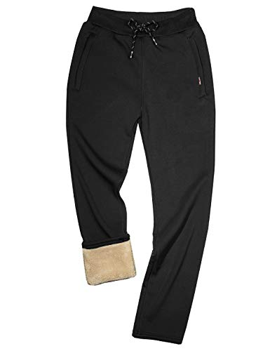 Gihuo Men's Casual Fleece Lined Winter Pant Active Jogger Sweatpants (Black, Large)