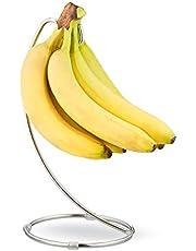Relaxdays Bananenhouder met ronde voet, bananenhaak, fruitopslag, bananen, druiven, verchroomd ijzer, zilver