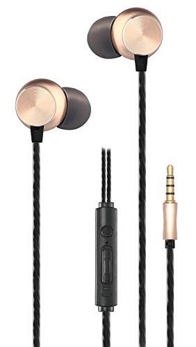Auriculares in-Ear estéreo con Carcasa de Aluminio Dorada, con botón...