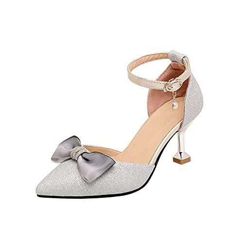 FGDSA Zapatos de tacón Elegantes con Lazo de Diamantes de imitación para...