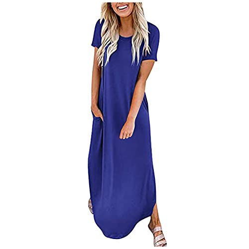 Dresses for Women, SHOBDW Ladies Solid Short Sleeve Pocket Casual Floral Summer Beach Long Maxi Loose Dress Female Plus Size Boho Kaftan Shirtdress(#1 Blue,S)