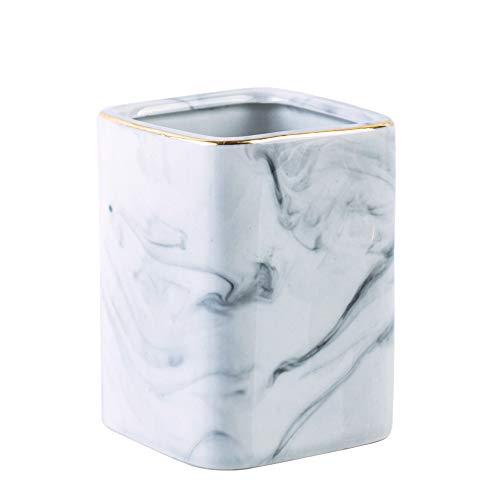 YOSCO Ceramic Desk Pen Holder Stand Square Marble Pattern Pencil Cup Pot Desk Organizer Makeup Brush Holder (Gray)