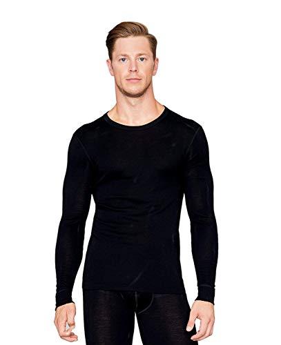 Utenos Camisa de manga larga para hombre, 100% lana merino, fabricada en la UE.